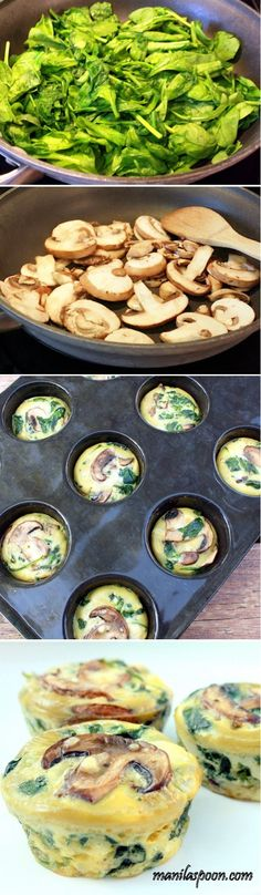 Healthy Savory Spinach Mushroom Egg Cupcakes Recipe by Cupcakepedia, cupcakes, food, cupcake. perfect for a brunch party! :) by KaleighS Low Carb Recipes, Vegetarian Recipes, Cooking Recipes, Healthy Recipes, Healthy Mushroom Recipes, Lunch Snacks, Healthy Snacks, Healthy Eating, Party Snacks