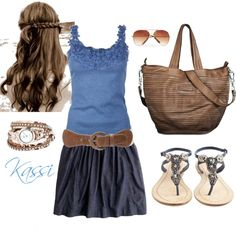 """""""Blue & Brown Summer"""" by kglover26 on Polyvore"""