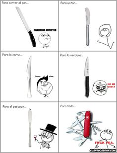 Tipos de cuchillos y su rage comics...