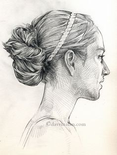 """Sketchbook 47"" by David Malan, female portrait profile drawing. davemalan.com"