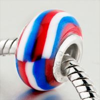 Pugster Blue White And Red Stripes Polymer Clay Style Pandora Bead