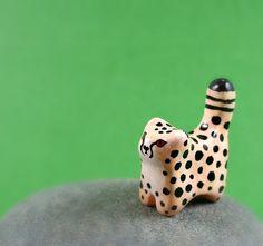 Little Cheetah - Hand Sculpted Miniature Polymer Clay Animal