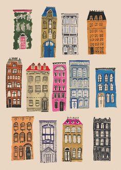 1000 drawings by danielle kroll Building Illustration, House Illustration, Building Drawing, Buch Design, House Drawing, Urban Sketching, Art Inspo, Home Art, Illustrators