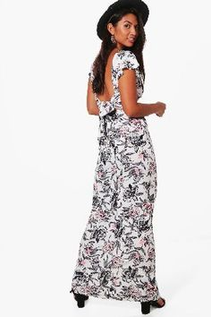 #boohoo Frill Sleeve Backless Floral Maxi Dress - white #Georgia Frill Sleeve Backless Floral Maxi Dress - white