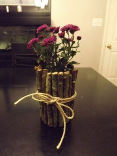 Take an empty tin can, glue sticks around it, tie hemp bow around it, fill with potting soil, place flower in it. Great gift idea!
