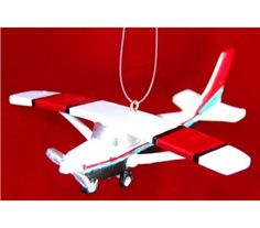 Red Stripes on White Cessna Silver-Single-Prop Airplane Personalized Christmas Ornament