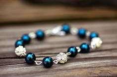 Blue Pearl Bracelet Peacock Wedding blue pearls by EstyloJewelry
