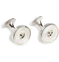 Turnbull & Asser Silver and Mother-Of-Pearl Button Cufflinks