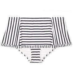 Tory Burch Sail Stripe Skirted Bottom ($135) ❤ liked on Polyvore featuring swimwear, bikinis, new ivory lanai stripe, flounce bikini, frilly bikini, frill bikini, retro pinup swimwear and pin up swimwear