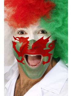 Welsh Face Painting Kit Smiffys 30993 - Perfect for six nations rugby matches St Davids Day School Concerts and Welsh Football and sporting events
