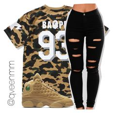 """""""Untitled #544"""" by qveenmm ❤ liked on Polyvore featuring A BATHING APE and NIKE"""