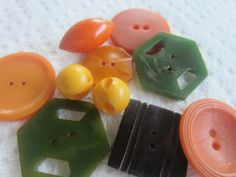 Vintage Buttons -10 wonderful novelty celluloid and Bakelite black, orange, green and butterscotch buttons,1940 - 1950's (july 519) by pillowtalkswf on Etsy
