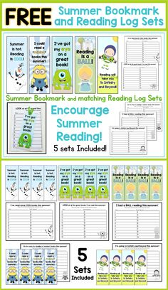 FREE End of Year Summer Bookmarks and matching Reading Logs! 5 sets to choose from - all included in this FREE download. GREAT for end of year gifts to students!