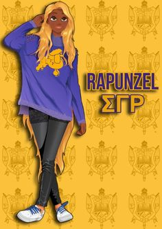 Disney Princesses Reimagined As Members Of Black Sororities. Name: Rapunzel. Line Name: RHOpunzel aka Hangtime.  School: Corona Royal University.  Bio: She became one of the most active students on campus and accomplished people in her English department. She is a great sister and is the creative mind behind all of her chapters parties and events.