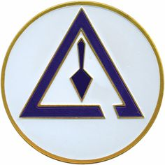 Cryptic Masonry - Royal & Select Master, right break triangle and trovel. Also comes with a horizontally placed sword through the triangle[R to L].