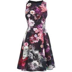 Oasis Winter Floral Skater Dress ($70) ❤ liked on Polyvore featuring dresses, women, flower print dress, beaded dress, skater dress, floral dresses and glitter dress