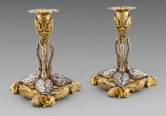 An Exceptional Pair of William IV Swan Candlesticks Silver & Parcel-Gilt London, 1830 Maker's mark of John Bridge Both stamped with the royal retailers mark of 'Rundell Bridge & Rundell Aurifices Regis Lononi' Height: Weight: Wall Clock Online, Silver Candlesticks, Gold Box, Large Clock, Gold Bangles, Vintage Walls, Metal Working, Antique Silver, Candle Holders