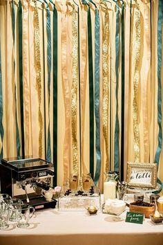 coffee wedding streamer table