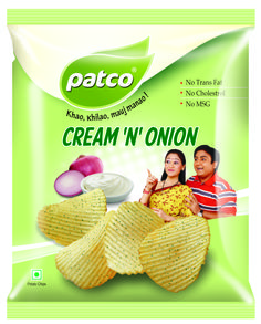 We have Launching new pouch of Cream N Onion wafers http://www.patcofood.com/product.html