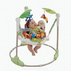 Fisher Price Rainforest Jumperoo - is a great activity center for babies who can hold their head up  for more information http://www.grandmastoyreview.com/352/review-of-the-fisher-price-rainforest-jumperoo/
