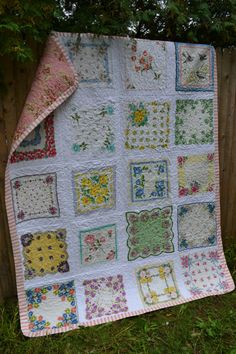 Vintage Hankie Quilt Small Twin Size Large by TrueloveQuiltsForYou