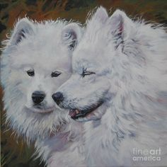 Samoyed Painting - Samoyed Conversation by Lee Ann Shepard