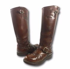 Vintage CHIPPEWA Brown Leather Patrol Engineer Motorcycle Hot Rod Boots #Chippewa #Motorcycle