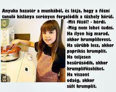 viccek, képek,kislány, főz, konyha, étel, krumpli, odaég, sűrű,