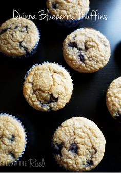 Quinoa Blueberry Muffins. Made using Greek yogurt and apple sauce. Lower in fat and higher in protein than a classic blueberry muffin.
