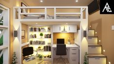 Loft Beds For Small Rooms, Small Room Desk, Cool Loft Beds, Small Room Interior, Small Room Design Bedroom, Small Apartment Interior, Small Space Bed, Small Bedroom Ideas For Girls, Small Condo Decorating