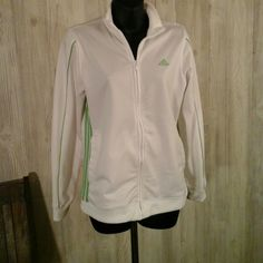 Adidas jacket White with lime green trim. Full zipper front. Two front pockets. Adidas Tops