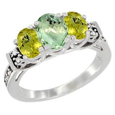 10K White Gold Natural Green Amethyst and Lemon Quartz Ring 3-Stone Oval Diamond Accent, sizes 5-10 -- Unbelievable  item right here! : Jewelry Ring Bands
