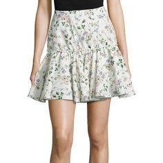 Giambattista Valli Floral Taffeta Skirt ($1,550) ❤ liked on Polyvore featuring skirts, floral knee length skirt, multi colored skirt, white floral skirt, multi color skirt and taffeta skirt
