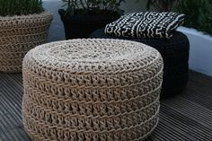Outdoor furniture is in on the craze too. These crocheted poufs from Ineke Visser are made from UV resistant polyester yarn that is reportedly as soft as cotton. Perhaps even less expected than weaves and tubular steel however, these pouf covers are designed to be pulled over rubber tyres. In the event that this isn't an ingenious means of reusing car tyres, Ineke has also designed crocheted pot plant covers to even out the green scorecard.