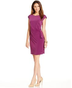 Ny Collection Petite Cap-Sleeve Sheath Dress