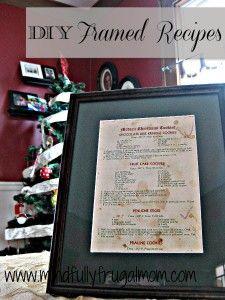 DIY Frugal Gift Ideas: Framed Recipe Card Craft - Mindfully Frugal Mom