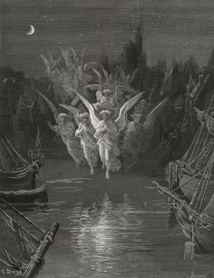 In crimson colors came - from The Rime of the Ancient Mariner - by Gustave Dore (Jonnard, engraver)