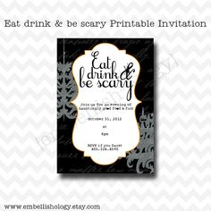 Eat Drink and Be Scary Printable Halloween Invitation
