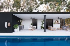 Outside In by Denise - Oakford Project Small Pool Houses, Modern Pool House, Modern Gazebo, Pool House Decor, Modern Pools, Pool Gazebo, Backyard Pool Landscaping, Backyard Pool Designs, Small Backyard Pools