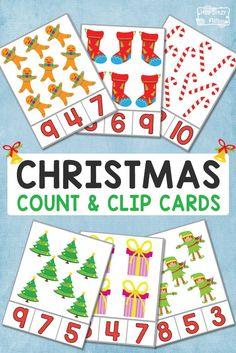 FREE Christmas Counting Clip Card Printables for Kids Preschool Christmas Activities, Preschool Printables, Christmas Worksheets, Christmas Math, Christmas Themes, Xmas, Theme Noel, Winter Theme, In Kindergarten