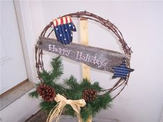 great rustic wreath from a reader on www.robomargo.com ~ great site for repurposing ideas