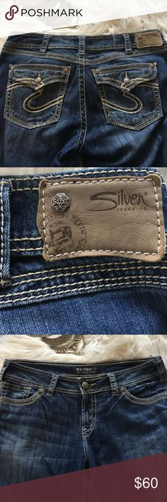 """Silver Jeans Suki 17"""" Surplus Jeans Like New Size 33/31, like new! No flaws, no stepped on hems, worn 1x.  Beautiful, flattering jeans!  A little stretch, don't sag or loose shape after wear. Silver Jeans Jeans Boot Cut"""