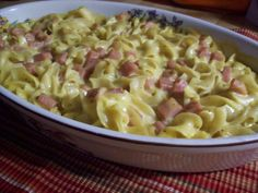Spam and Noodle Casserole . A great simple casserole to make and it makes a ton! My grandmother used to make this for us on Friday nights after she got off of work. You can substitute shredded cheese for Velveeta. Pork Recipes, Pasta Recipes, Dinner Recipes, Cooking Recipes, Healthy Recipes, Dinner Ideas, Meal Ideas, Food Ideas, Cooking Ideas