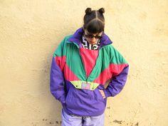 Vintage 80s 90s  Ski  jacket / Ski suit - Color Block in Purple Pink   and  Greens.