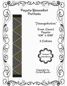 Triangulation Peyote is a PDF peyote stitch pattern using Miyuki 11/0 Delicas.  The PDF pattern includes the following:  1. The pattern design