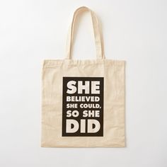 Funny Throw Pillows, She Believed She Could, Printed Tote Bags, Cotton Fabric, Pouch, Reusable Tote Bags, Awesome, Creative, Shopping