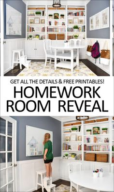 Homework Room Makeover - great idea for a small space in the home! Love the built ins, dry erase board, printables and more.
