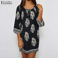 bb233531aa7c ZANZEA Women Mini Dress 2018 Summer Vintage Print Dress Casual Loose  Vestidos Lace Up Sexy Beach