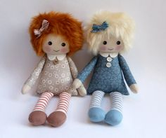 rag doll cloth doll in floral dress red-haired doll by Lybo