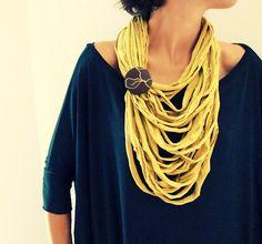 Yellow mustard multistrand upcycled fabric by BaobabFabricArt
